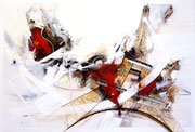 Der Turm tanzt, Acryl auf Leinwand, 120x80