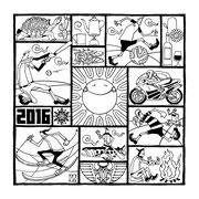 欧風居酒屋「太陽讃歌」 2016年寒中見舞い用イラスト