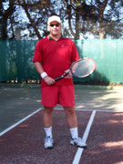 Playing tennis ... when I was thin!