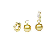 EBM-113YA: 18k yellow gold Golden South Sea pearl and diamond huggies with removable option (Diamond- 0.45ct | Golden SS round pearl- 9-10mm), $2475