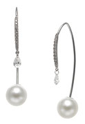 EBEF-306: 18k white gold Akoya pearl and diamond front-to-back earrings (Diamond- 0.32ct | Akoya pearl- 7 .5-8mm), $1500