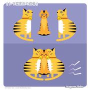 【トラ猫家族の威嚇】「合わせ技!」