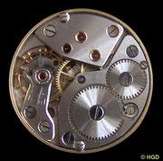 Werkseite Kaliber Kurtz 25.1 mit Monobloc-Stoßsicherung und dezentraler, kleiner Sekunde