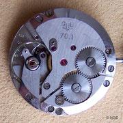 Das 1. Chronometerfähige Basiskaliber 70.1 der Kalibergruppe 70.1 der GUB, noch mit Incabloc Stoßsicherung