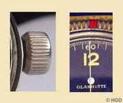 2. Kleine Aufzugskrone zum 2.Gehäuse / rote Markierung als Erstz für die Metallspitze an der Lünette