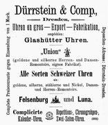 1. Nov.1892 eine Ausgabe später trennte schon ein dünner Strich Glashütte und die Glocken Union