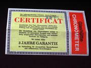 original des von Quelle mitgelieferten Certifikates