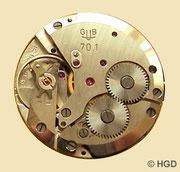GUB Kaliber 70.1, Werkseite, Grundkalibermit Ringunruh und Eigenpatent-Stoßsicherung