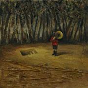 El niño de la tuba (The tuba boy)  Óleo sobre madera 30 x 30 cm
