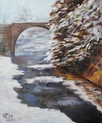 Bridge In Winter, Öl_Lwd.50x60cm