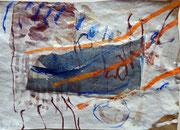 """""""Lang her #8"""", 2017, MT und Collage auf Papier, ca. 19x27cm"""