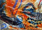 """""""Lang her #11"""", 2017, MT und Collage auf Papier, ca. 18,5x26,5cm"""