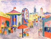 """(14 Jahre alt). Völlig freies Motiv - Oktoberfest in München 1934. Noch war eine große Farbpalette in der Zeichnung kein Problem. Jahre später herrschten im """"Nazi-Reich"""" braune und erdfarbene Töne und realistische Malerei vor."""