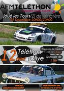 Photo de la Triumph sur l'affiche du Rallye Téléthon de Joué-lès-Tours