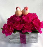 atelier création Maria'S composition floral fleurs en papier fuchsia