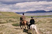 """Zusammen mit Sarah und einem Guide unternahmen wir einen Ausflug auf Islandpferden in der Nähe des Myvatn. Wir durften sogar auf einer geeigneten Strecke die Gangart """"Tölt"""" geniessen."""
