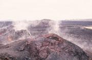 Vulkansystem Krafla. Wir lösten einige kleine, warme Steine und nahmen sie als Souvenirs mit uns nach Hause