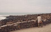 """Von Khorixas ging es durch eine steinige Landschaft nach Westen an die Atlantikküste. Dort machten wir Halt am Kreuzkap (Cape Cross), einer Landspitze etwa 70 km nördlich von Hentiesbay, heute Bestandteil des Naturschutzgebietes """"Robbenreservat Kreuzkap""""."""