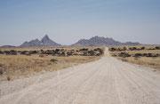 """Die Rückfahrt nach Swakopmund führte uns zur Spitzkoppe. Dabei handelt es sich um einen Inselberg, der seine Umgebung 700 Meter überragt. Aufgrund seiner markanten Form wird er auch als das """"Matterhorn Namibias"""" bezeichnet."""