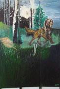 Hund,Öl auf Leinwand,178x120,Paravant aus 3 Teilen,2011