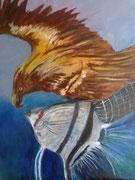 """Fisch und Vogel, nach dem Roman von R. Powers """"The Time of our Singing"""", Öl auf Leinwand,80x60"""