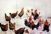 """Entschleunigung,Öl auf Leinwand,200x300,2012 - """"die Hühner/ im Hühnerhof/ sind entschleunigt/ und wir/ sollen davon lernen"""""""