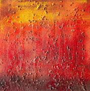 """Lightning"", Materialexperiment, Sägespäne,Kies,Acryl,Lack+Lösungsmittel, 40x40,2008"