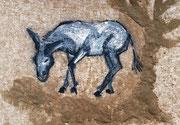 """Ouzo, der Esel"", Sand, Acryl, Kohle und  Kreide"