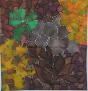 Herbstlaub,Seidenmalerei-Tuch,90x90