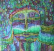 Regengesicht,Seidenmalerei-Tuch,110x110
