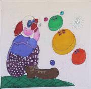 Clown,Seidenmalerei-Tuch,90x90