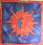 Sonne und Mond,Seidenmalerei-Tuch,110x110
