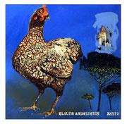 """Blauer Andalusier,Öl auf Leinwand,100x100,2012 - """"Mathildes Andalusier/ ist blau/ und kein Pferd!"""""""