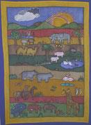 Arche Noah,Seidenmalerei-Wandbehang,180x110