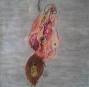 Kalbskopf,Pastell,53x53,2012 (Privatbesitz)