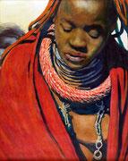 Himbaprinzessin: Öl auf Leinwand, ca. 40x50cm. In Namibias Städten hocken sie nur mit ihrem traditionellen Tuch bekleidet auf den Straßen, teilweise bei Minusgraden und verkaufen ihre selbstgemachten Muschelketten an Touristen