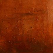 """Smoky Red"", Materialexperiment, Sägespäne,Kies,Acryl,Lack+Lösungsmittel, 40x40,2012"