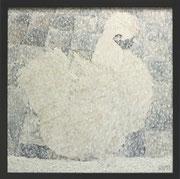 """Variation 41 aus Silkie,Öl auf Poster,40x40,2013 - """"das Seidenhuhn/ im Schneetreiben"""""""