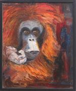 Nonja, die malende Affendame, Öl auf Leinwand,60x50