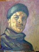 Mann mit Mütze, 50x40, Öl auf Leinen, 2014