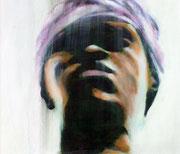 Faceafrika001: Aquarell auf Leinwand, ca. 30x35cm. Ich hocke oft stundenlang an einem belebten Ort und betrachte die Passanten.