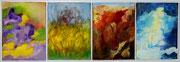 Die vier Jahreszeiten, Öl auf Leinwand,40x120