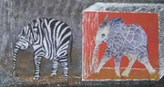 """die 2 Elephanten,Mischtechnik,48x90,2010 - """"die 2/ sie kommen aus dem Faschingskasten"""""""