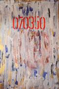"""Selbstbild,Acryl+Pigmente,150x100,2008 - """"ultramarinblau und gold/ als Hintergrund Jugendstil/ Schüttbild in unschuldig Weiß/ eine Nummer durch Geburt/ ein Gefangener im Leben/ eine bunte schlagende Faust/ oder viel Anhang/ auf der eigenen Bildfläche"""""""