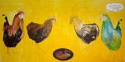 """Capponi (coccoon),Acryl+Pigmente,100x200,2009 - """"Oh, was für ein Ei!/ wer hat denn das ausgebrütet?/ Ein faules Ei!"""""""