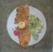 Wiener Schnitzel,Pastell,53x53,2012 (Privatbesitz)