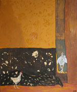 """Hühner in Africa,Acryl+Pigmente,120x100,2008 - """"pure Freude/ an erdigen Farben/ und/ Hühnern in Pose"""""""