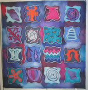 Meer 1,Seidenmalerei-Tuch,90x90