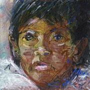 Chica: Aquarell auf Papier, ca. 29x29cm. In Bolivien leben viele Kinder auf der Straße, als Schuhputzer, Verkäufer, Taschendiebe…. 2014 haben diese Kinder in LaPaz ein Recht auf Kinderarbeit eingefordert.