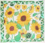 Sonnenblumen,Seidenmalerei-Tuch,90x90
